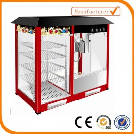 Popcorn machine with warming showcase